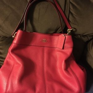 Coach Lexy red pebble leather shoulder bag